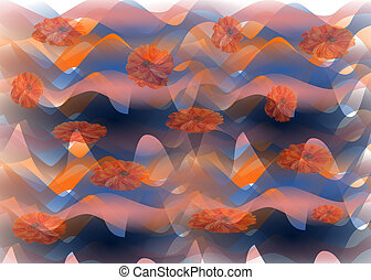 Abstract waves with poppies, stylish fantasy background