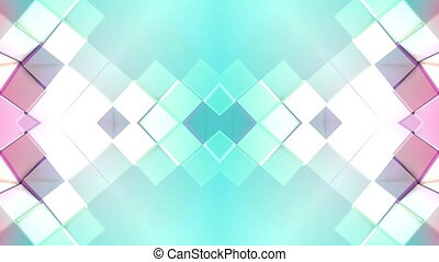 Abstract waving 3D polygonal red blue grid or mesh of pulsating geometric objects. Use as abstract cyberspace. Geometric vibrating environment or pulsating low poly background. V8