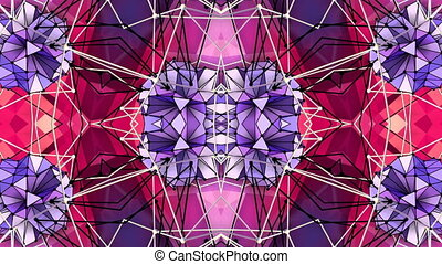 Abstract waving 3D polygonal red violet grid or mesh of...