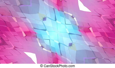 Abstract waving 3D red blue polygonal grid or mesh of pulsating geometric objects. Use as abstract cyberspace. Geometric vibrating environment or pulsating low poly background. V2
