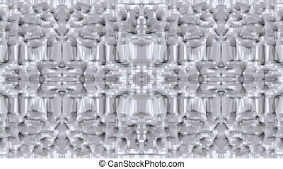 Abstract waving 3D white polygonal grid or mesh of pulsating...