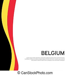 Abstract waving belgium flag. Creative background in belgium flag colors for holiday card design. National Poster. State Belgian patriotic binding, business booklet, flyer. Vector flat design