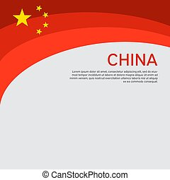 Abstract waving china flag. Creative background for patriotic holiday card design. National Poster. Cover, banner in the national colors of China. Vector illustration