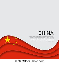 Abstract waving china flag. Paper cut style. Creative background for patriotic holiday card design. National Poster. Cover, banner in the national colors of China. Vector illustration
