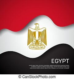 Abstract waving egypt flag. Paper cut style. Creative background for egypt patriotic holiday card design. Graphic background for the poster. Vector illustration of the Egyptian flag. Banner
