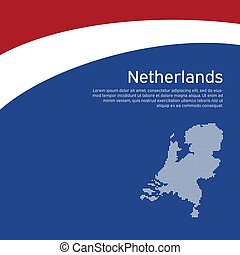 Abstract waving flag and mosaic map of netherlands. Creative background for patriotic holiday card design. National Poster. Cover, banner in state colors of the Netherlands. Vector tricolor design