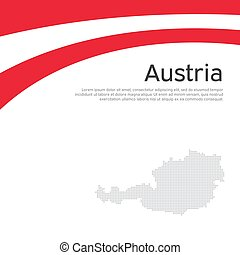 Abstract waving flag mosaic map of austria. Creative background for design of patriotic holiday card austria. National Poster. Paper cut style. Austrian business booklet, flyer. Vector flat design