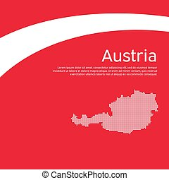 Abstract waving flag mosaic map of austria. Creative background for design of the patriotic holiday card Austria. National Poster. Paper cut style. Austrian business booklet, flyer. Vector