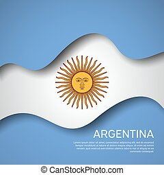 Abstract waving flag of argentina. Paper cut style. Creative background for Argentina patriotic holiday card design. Graphic background for a poster. Vector illustration of argentinian flag. Banner