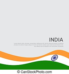 Abstract waving flag of india. Creative background for patriotic holiday card design. National Poster. State Indian patriotic cover, flyer. Vector tricolor design