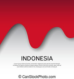 Abstract waving flag of indonesia. Paper cut style. Creative background for patriotic holiday card design. Graphic abstract background for a poster. Vector illustration - Indonesia flag. Banner