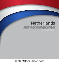 Abstract waving flag of netherlands. Paper cut style. Creative background for patriotic holiday card design. National Poster. Cover, banner in state colors of the Netherlands. Vector tricolor design