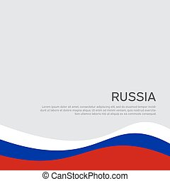 Abstract waving flag of russia. Creative background for design of patriotic holiday card. National poster. State russian patriotic cover, flyer. Vector tricolor design