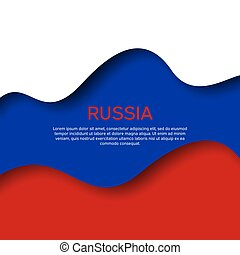 Abstract waving flag of russia. Paper cut style. Creative background for design of patriotic holiday card. Graphic abstract background for poster. Vector illustration Russian flag. Banner