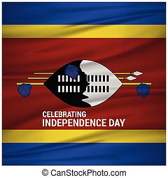 Abstract Waving Flag Swaziland Independence Day