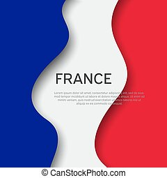 Abstract waving france flag. Creative background for design of patriotic holiday card. Paper cut style. Graphic abstract background for poster. Vector illustration of french flag. Banner