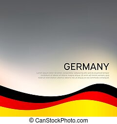Abstract waving germany flag. Creative background for design of patriotic holiday card. National poster. State German patriotic cover, flyer. Vector tricolor design