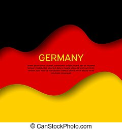 Abstract waving germany flag. Creative background for patriotic holiday card design. Paper cut style. Graphic abstract background for a poster. Vector illustration of the German flag. Banner