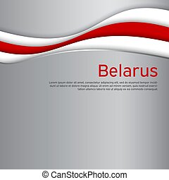 Abstract waving new flag of belarus. Protest actions. Creative background for design of the patriotic banner of Belarus. National Belarusian state business booklet, poster. Paper cut style. Vector