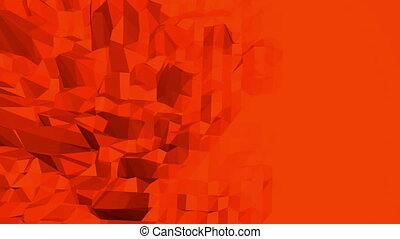 Abstract waving red low poly surface as paysage or video...
