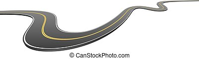 Abstract wavy asphalt road going from side to side isolated ...