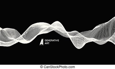 Abstract wavy background for banner, flyer, book cover, poster. Dynamic effect. 3d perspective grid. Vector illustration with dots. Network design with particle.