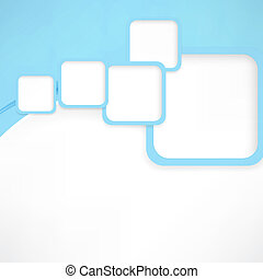 Abstract wavy background with blue squares