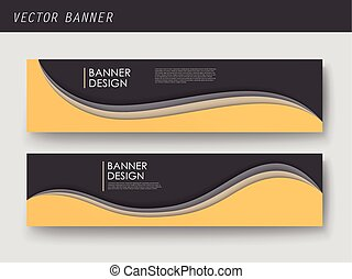 abstract yellow black corporate wavy banner design abstract yellow