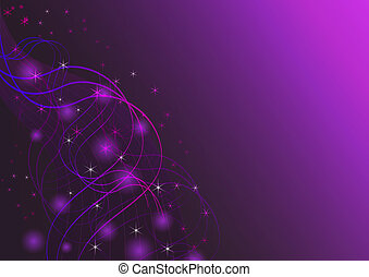 Abstract wavy lines and stars horizontal vector background.