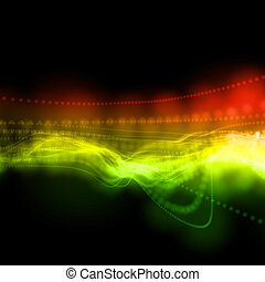 abstract wavy multicolored linear background in perspective