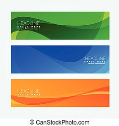 abstract wavy set of three banners in different colors