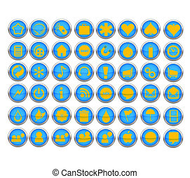 abstract web symbols set blue color