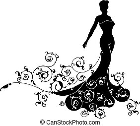 Abstract Wedding Bride Silhouette
