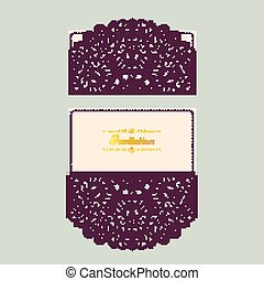 Abstract wedding cutout invitation template. Suitable for lasercutting. Lazercut vector wedding invitation template. Lazer cut vector. Lace folds. Gate fold wedding invitation mockup.