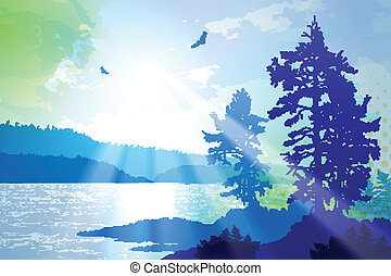 Inspiring illustration depicting the rugged west coast of British Columbia