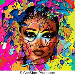 Abstract wet paint of womans face - Close up face of a...