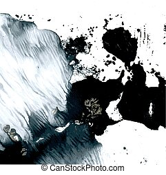 Abstract wet black and white vector monotype