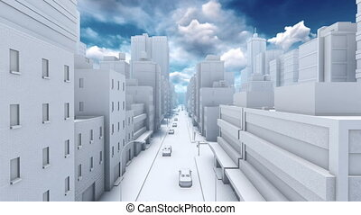 Abstract white 3D city street traffic 4K