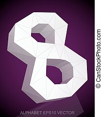 Abstract White 3D polygonal 8 with reflection. EPS 10 vector.