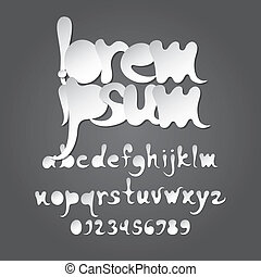 Abstract White Alphabet and Digit Vector