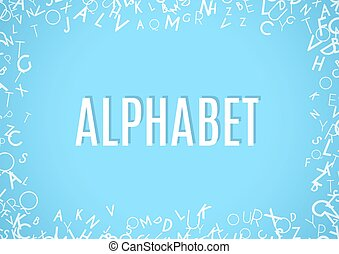 Abstract white alphabet ornament frame isolated on blue background