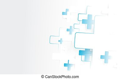 Abstract white and blue Medical crosses sign background