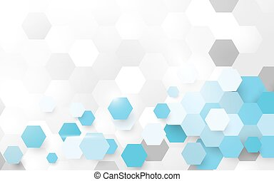 Abstract white and blue pattern hexagon background. Space for your text