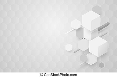Abstract white and gray geometric hexagon Futuristic concept background