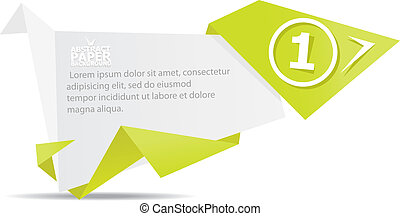 Abstract white and green paper origami background.