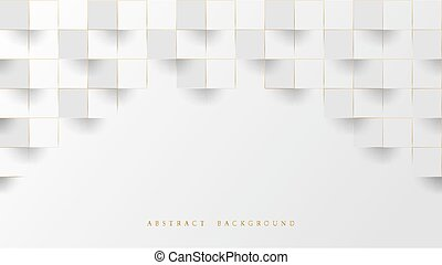 Abstract White and Lines Gold 3D Geometric Pattern Background. Luxury Stacked Box. Vector Illustration