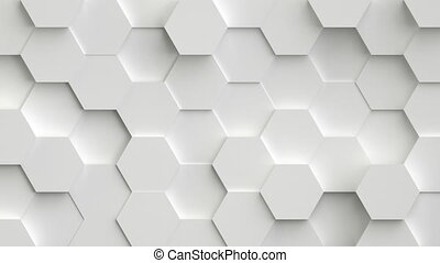 Abstract white background with 3D hexagons loop