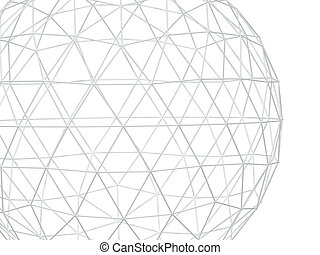 Abstract white background with 3d lattice