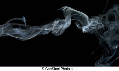 Abstract white blue smoke waves slow moves on the black background