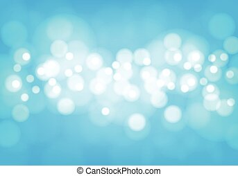 Abstract white bokeh light on blue background